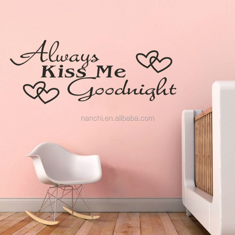 Kus Me altijd Goodnight Liefde Muurstickers Quote Decoraties ...