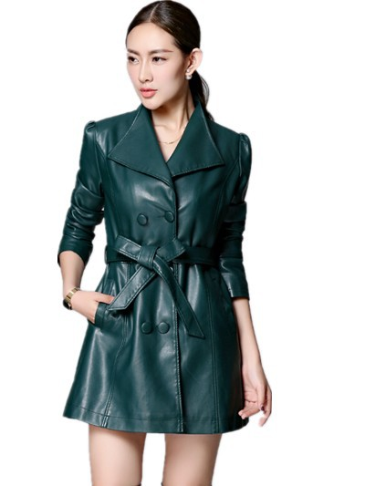 Hot-Selling 2015 Autumn Genuine leather Medium-long Slim Quality Women's leather Trench ,Plus Size Leather Coat M L XL 2XL 3XL
