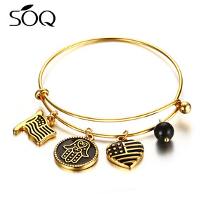 Stainless Steel Women Vintage Round Charm Pendant Gold Expandable Bangle