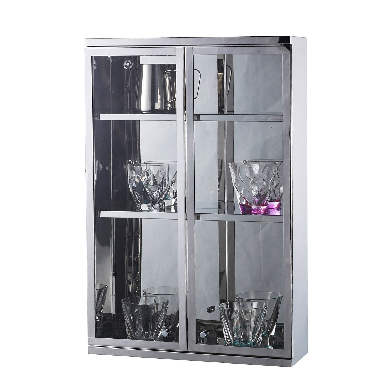 "GHP Home 23.6"" L×15.7"" W×5.1"" T Silver Stainless Steel Wall Mounted Bathroom Cabinet"