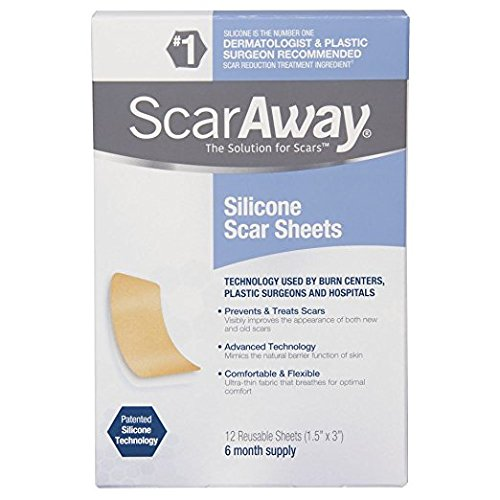 ScarAway Professional Grade Silicone Scar Treatment Sheets, 12 Count Total (Packaging May Vary) Lxk&hw