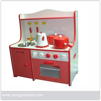Wood play kitchen set red wooden toys for kids py1429 for Mini kitchen set for kids