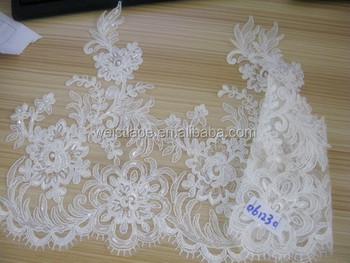 Polyester corded border lace trim white flower venice lace