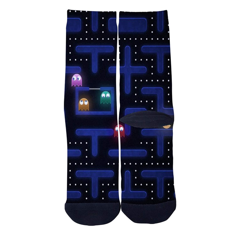 26e912ba3632 Get Quotations · pac man 80s video game Socks Colorful Patterned Custom  Crew Socks Men's Women's Socks Comfortable Socks