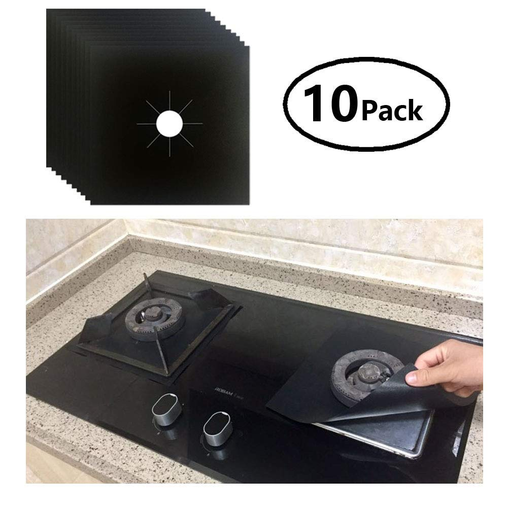 """Stove Burner Covers ACOVERSIN-Stove Top Liner-Gas Stove Burner Covers [10-Pack],Keep Your Kitchen and Stove Clean,for Gas Stove Gas Range Gas Cooktop(Black,Size 10.6"""" x 10.6"""")"""