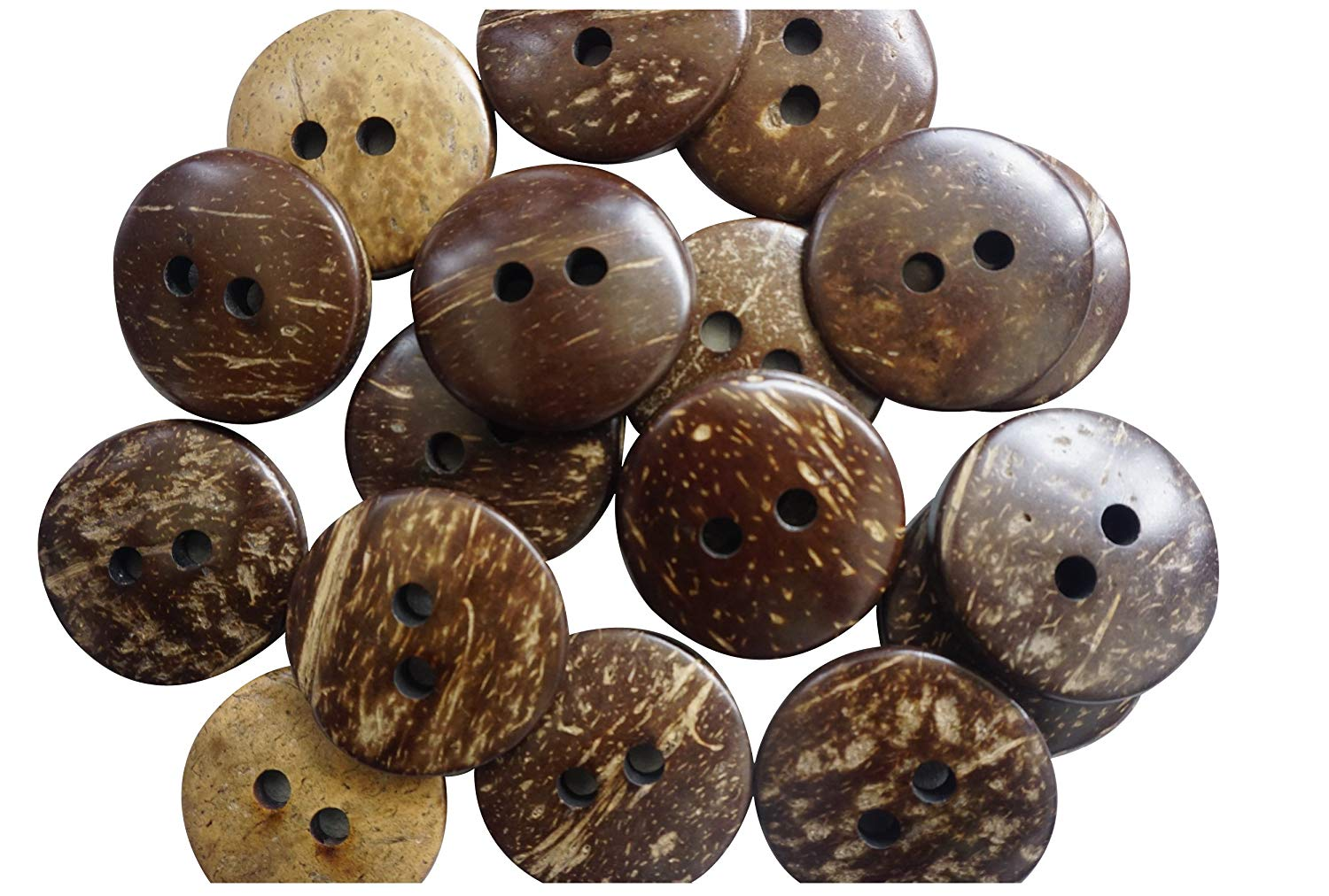 """50 Pcs Real Brown Coconut Shell 2 Holes Sewing and Craft Buttons - Large 38mm (1-1/2"""")"""