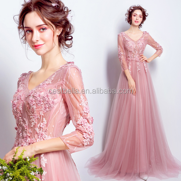2017 European Style Dresses Elegant Woman Long Sleeve Light Pink Evening Gown Prom Party Dress for Modern Pretty Ladies