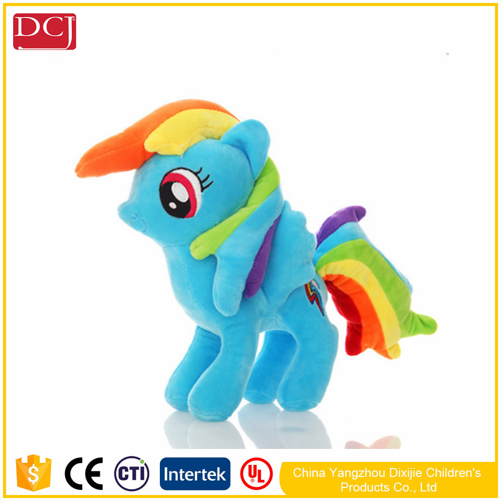 high quality cute rainbow pony plush toys stuffed horse doll for kids