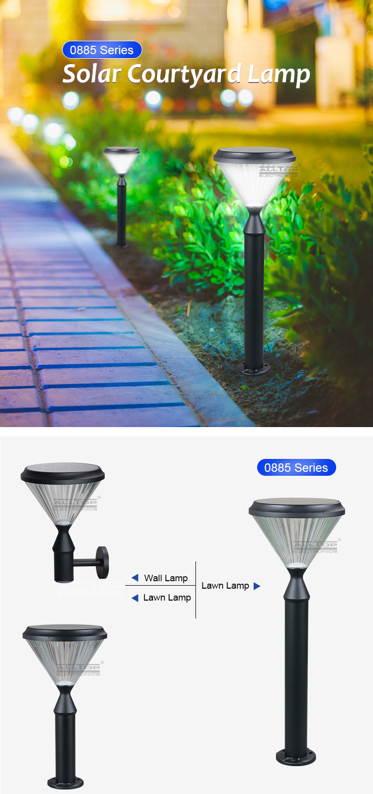 ALLTOP High efficiency outdoor pathway yard 5w all in one street led solar garden light
