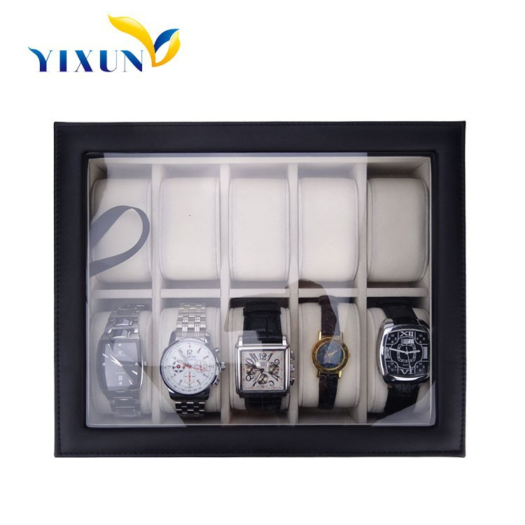 10 Slot Luxury leather Watch case with clear window watch display box