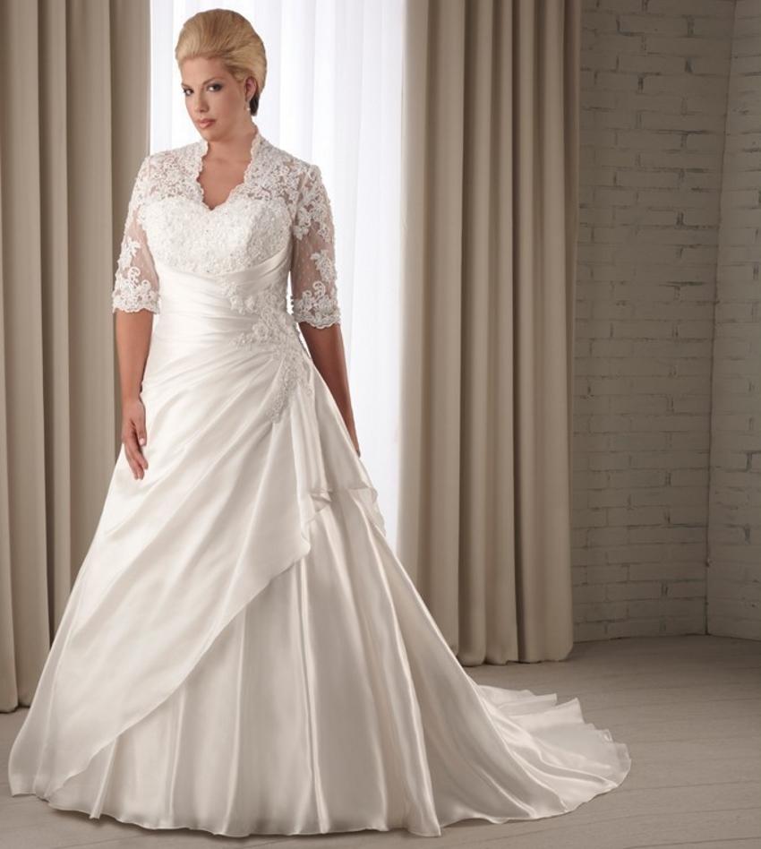 Lace Plus Size Wedding Dress Sleeves Bridal Bride Wedding