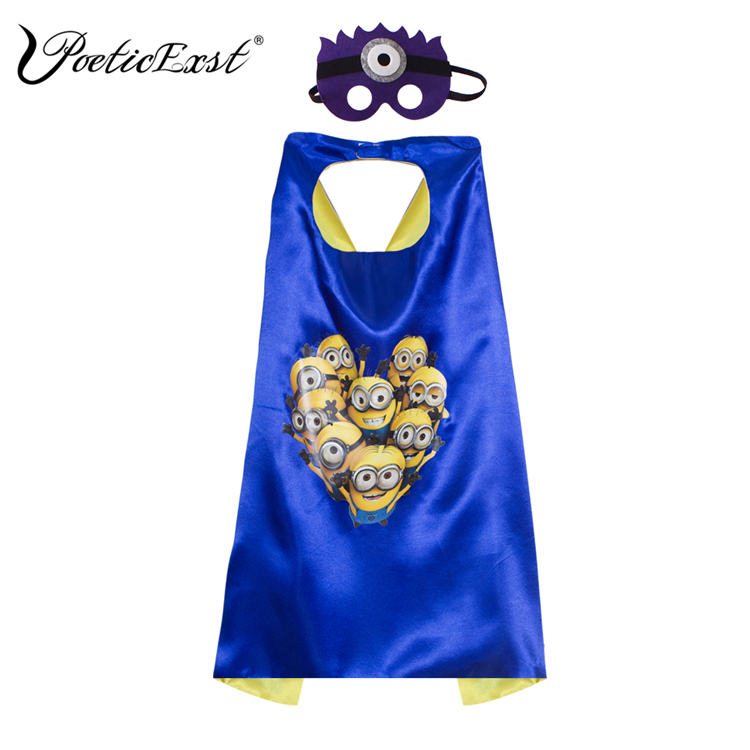 PoeticExst kinderen party decoraties masker en cape Cosplay Minion cape en masker
