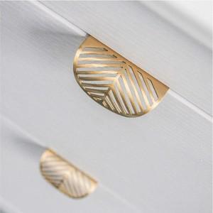 Leaf Shape Brass Gold Furniture Kitchen Cabinet Drawer Pull Handle knob