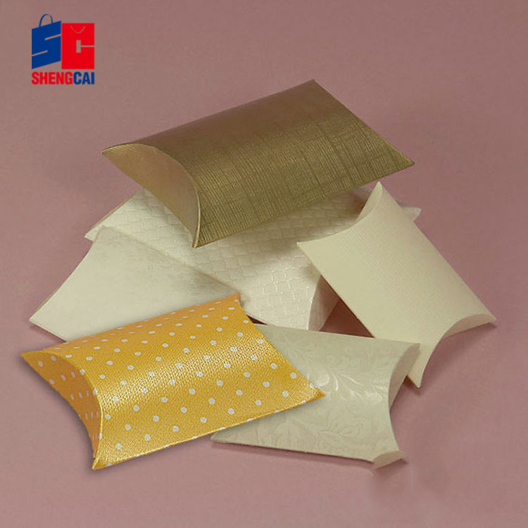 Custom size made mini design kraft paper pillow box with texture