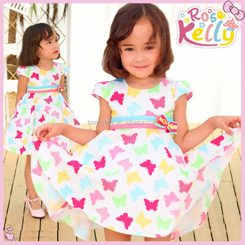 New Short Sleeve Printing With Butterfly Baby Girl Dress Puffy