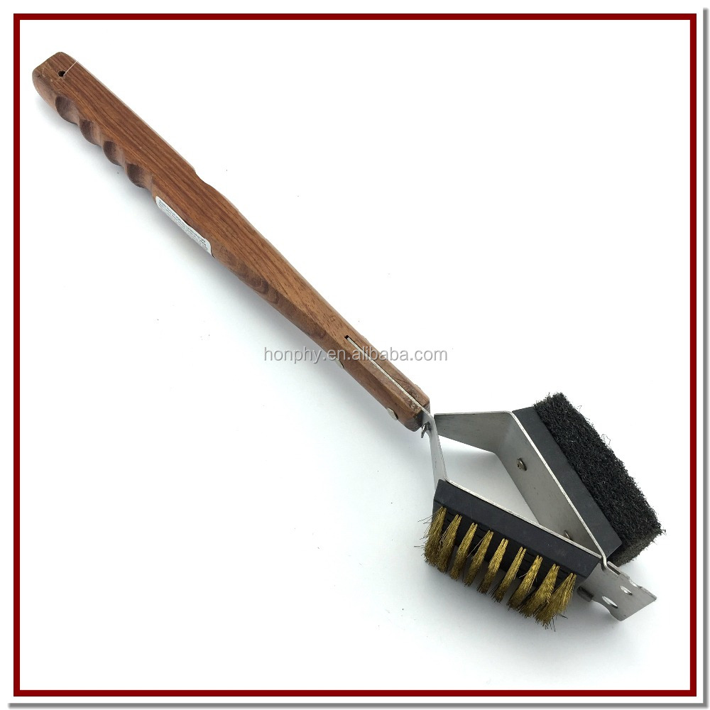 Grill Wooden Handle Steel Brush wire bbq brush