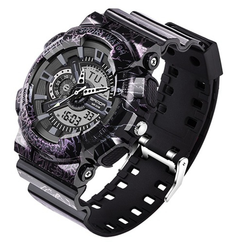 SANDA 799 men sport watches 30M waterproof Camouflage G style shock military wristwatch luxury double analog digital sport watch фото