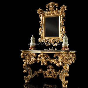 Baroco style marble top wooden carving gold color console table with mirror
