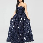 Strapless tube evening dress navy lace sequined gown dresses women