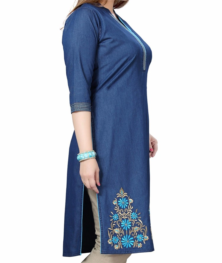 fed79580030 Royal wolf denim dress manufacturer blue embroidered denim kurti ladies  jeans kurta. More links about our factory you may interested in