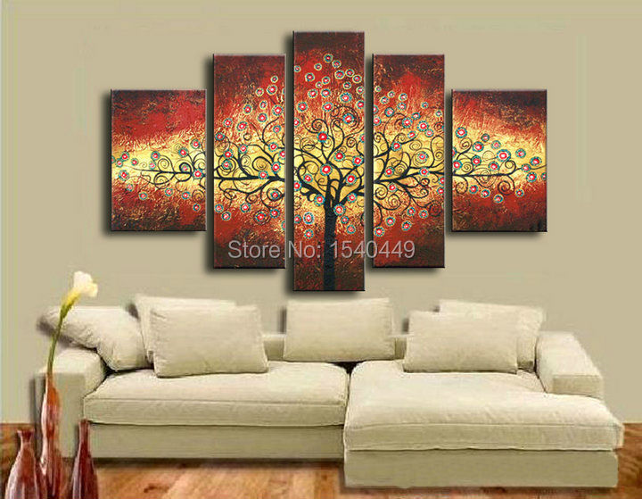 5 panel wandkunst hand bemalt modernen abstrakten goldenen gl ck geld baum lbilder auf leinwand. Black Bedroom Furniture Sets. Home Design Ideas