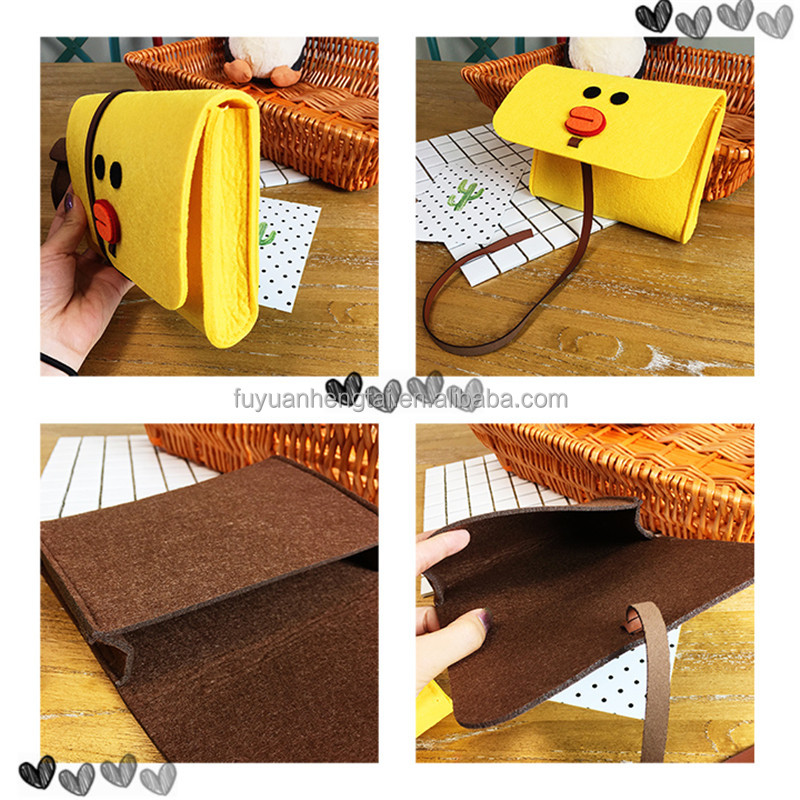 Wool felt laptop bag and pc sleeve with cute yellow duck for kids