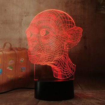 The Lord of the Rings Gollum 3D Optical Illusion Night Light Novelty RGB 7 Colors Remote Control USB Desk Lamp Home Decor Gift