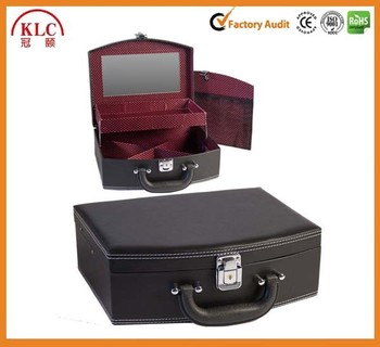 Charmant Black Leather Jewelry Box Lockable Makeup Storage Case