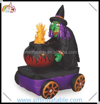 Halloween Led éclairé Gonflable Sorcière Chaudron Effrayant Sorcière