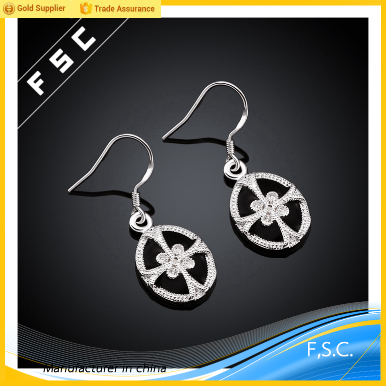 vietnam cheap wholesale george michael cross round cubic zirconia silver plated copper earring designs for unisex