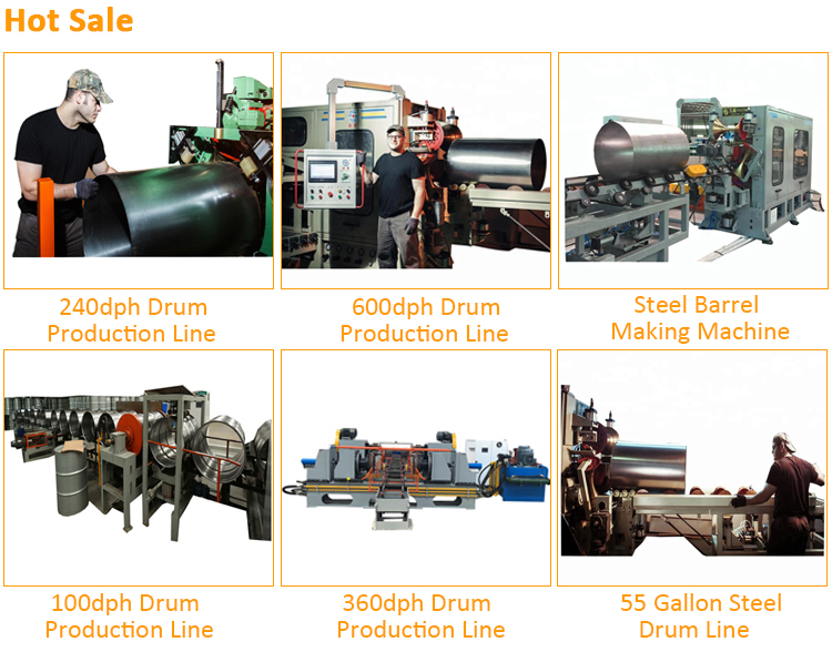 55 gallon steel drum line 360dph drum production line