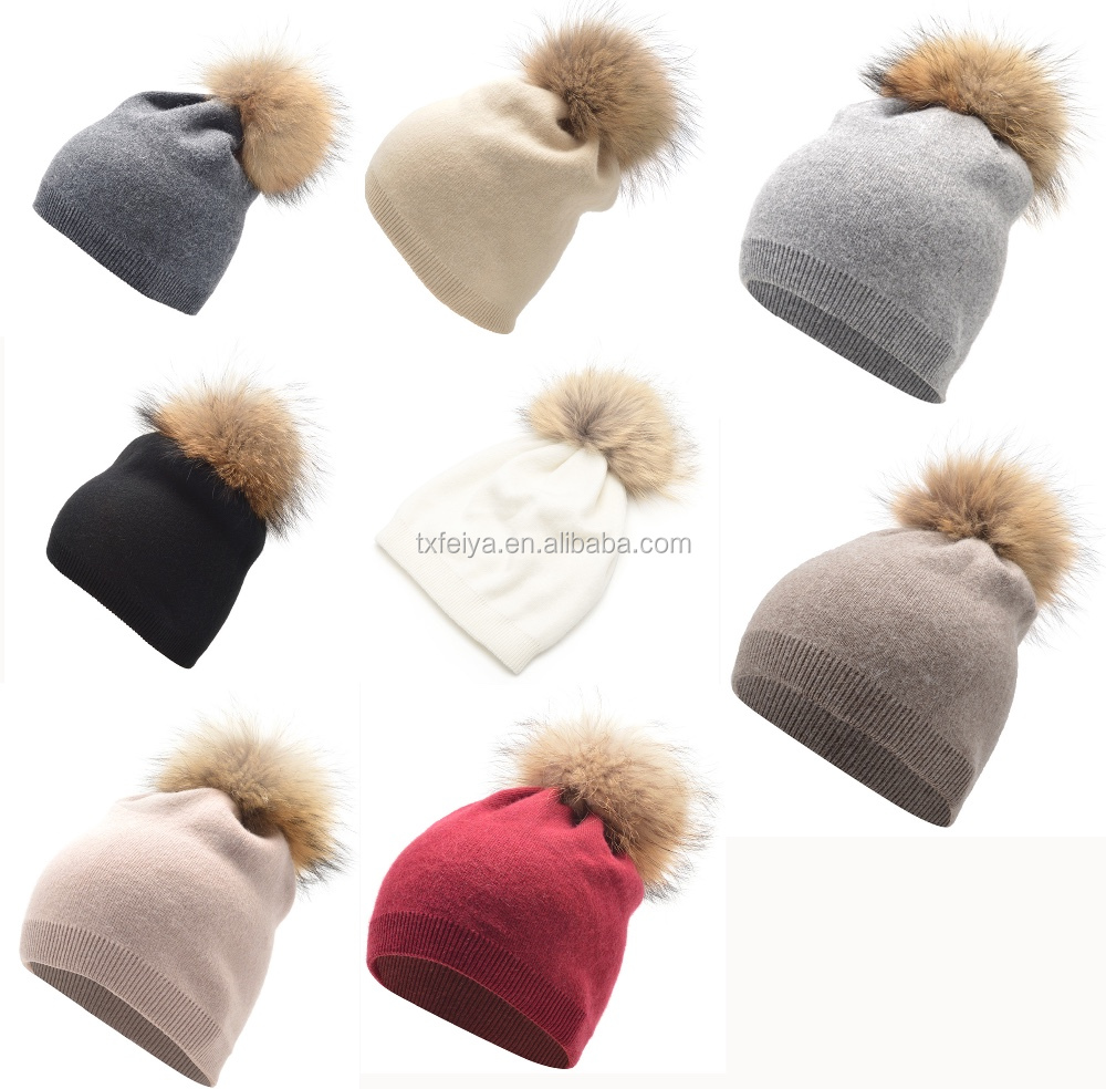 18d622d125e Soft Wool Hat Beanies Hats Top With Real Raccoon Fur Pom Pom - Buy ...