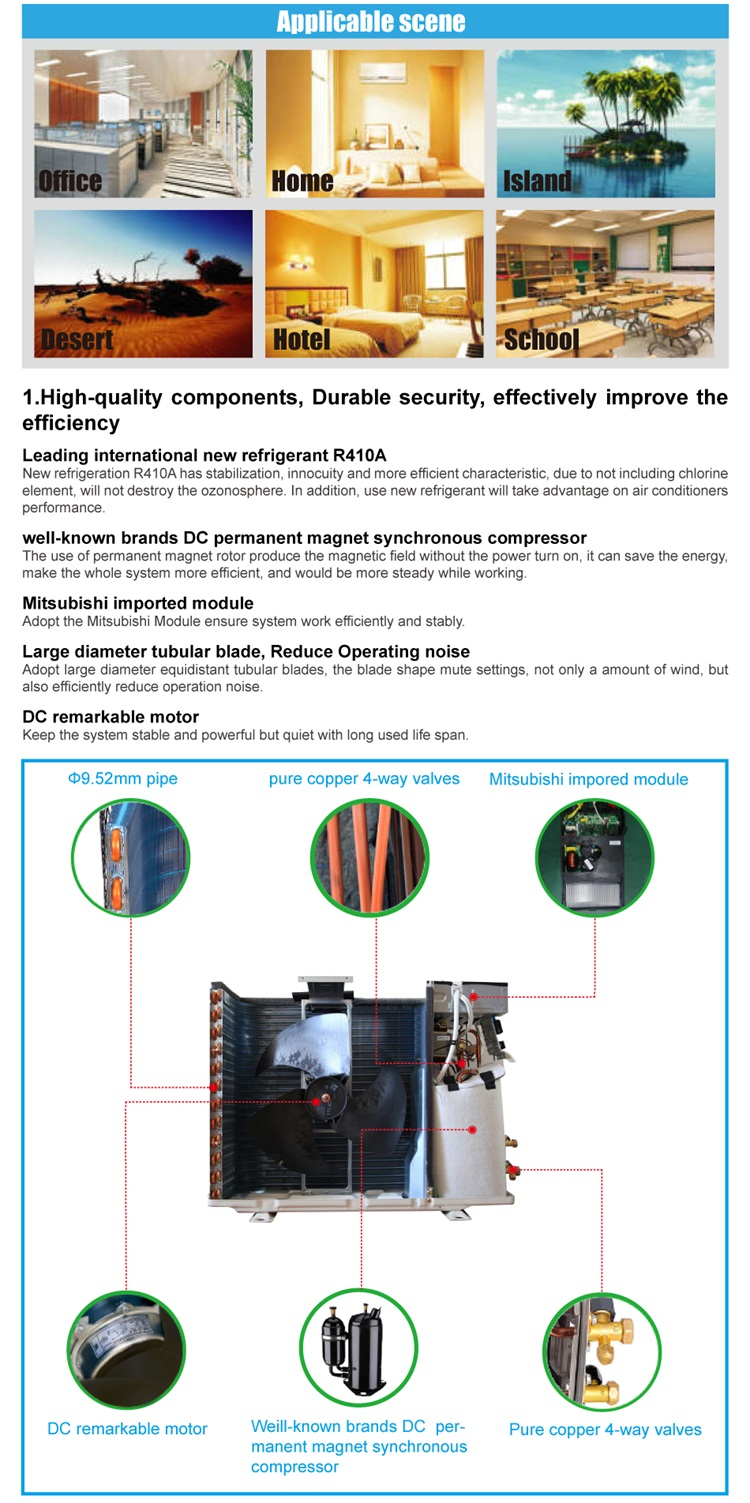 on grid energy saving wall split frequency conversion hybrid solar air conditioner