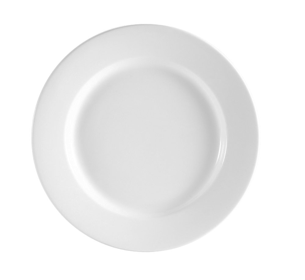 CAC China RCN-25 Clinton Rolled Edge 14-Inch Super White Porcelain Plate, Box of 6