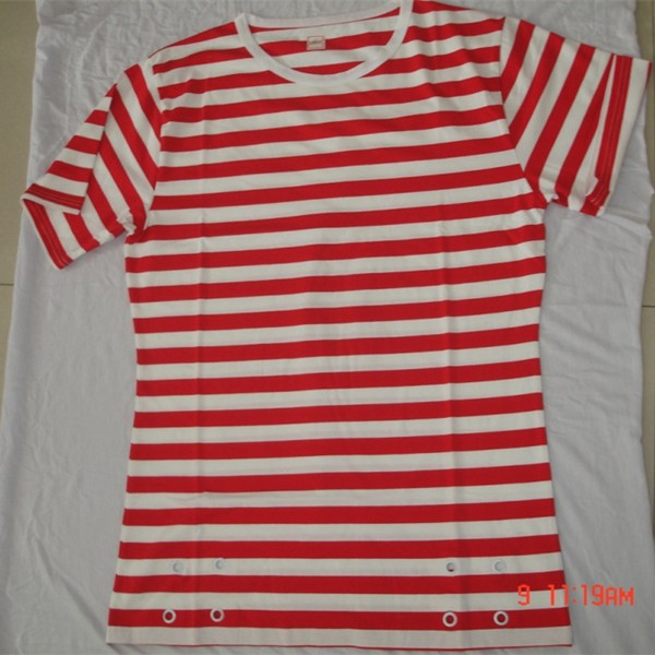 grommets 100% cotton yarndyed red & white stripe t shirts for woman