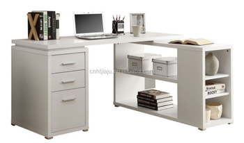 White Lacquer Finish Modern Office Desk Monarch Specialties Hollow Core  Left Or Right Facing Corner Desk