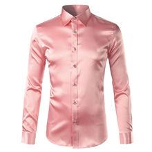 Роскошная атласная рубашка Королевского синего цвета, мужская рубашка на пуговицах с кристаллами 2020, мужская рубашка с длинным рукавом для ...(China)