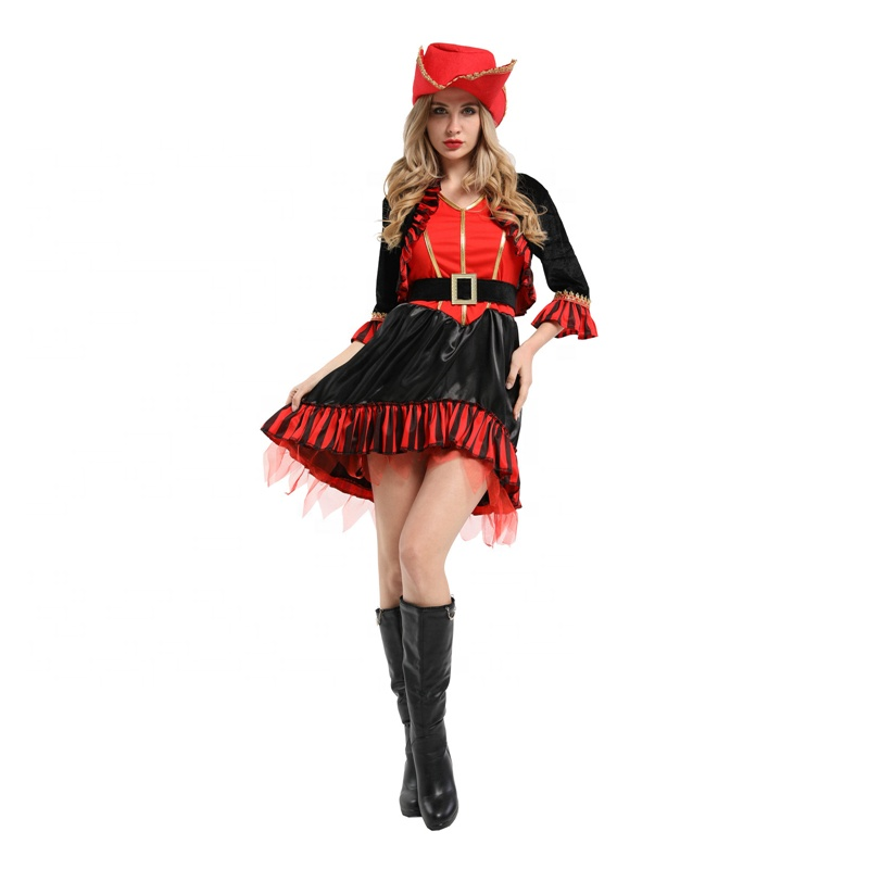 China fashion colorful design black and red striped sexy female pirate costume