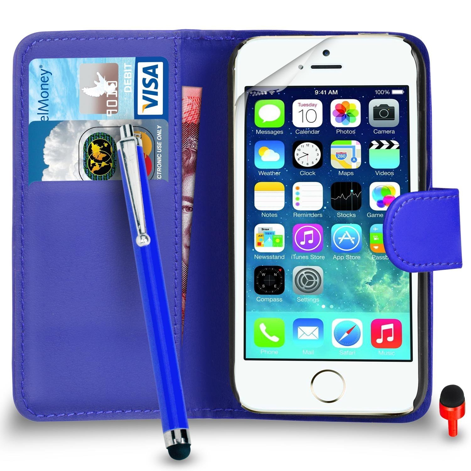 Apple iPhone 5 / 5S Premium Leather Blue Wallet Flip Case Cover Pouch + Big Touch Stylus PenRED DS+ Screen Protector & Polishing Cloth SVL2 BY SHUKAN®, (WALLET BLUE)