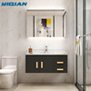 Modern New MDF Veneer Melamine Bathroom Cabinet Wall Hung Cheap Mirror Cabinet And Sink