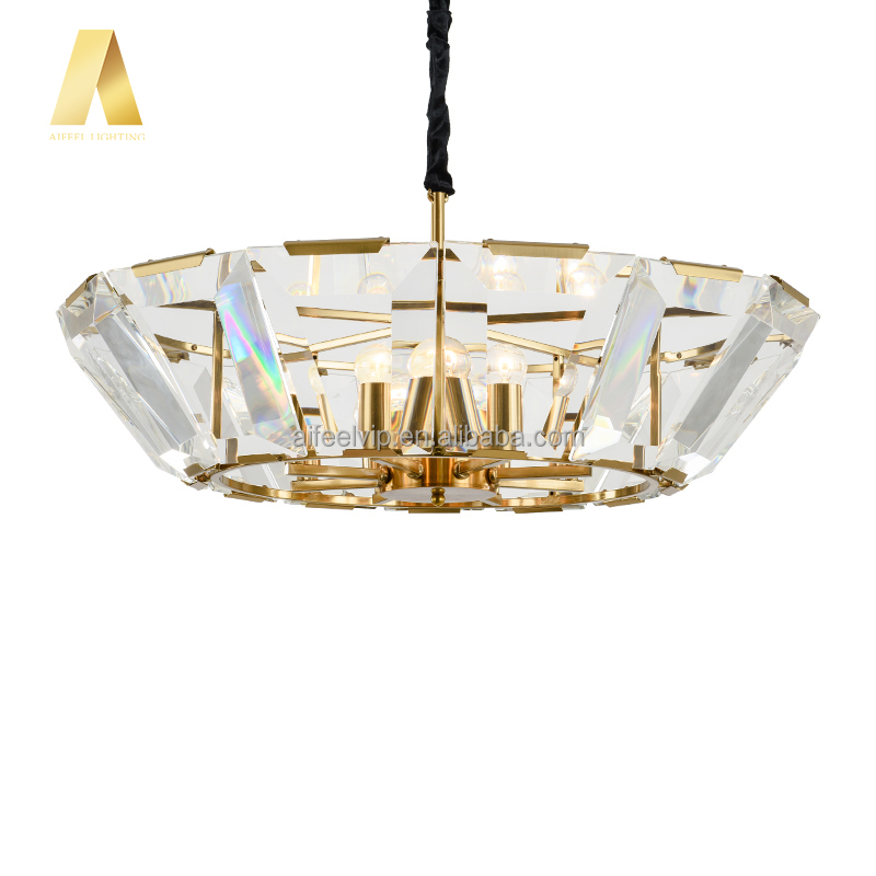 New style K9 crystal antique gold color hardware bowl shape crystals lighting chandeliers pendant lamp for dining room or home