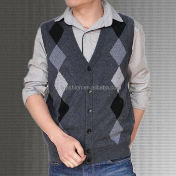 Mens Cashmere Sleeveless Argyle Cardigan Sweater Vest Buy Mens