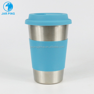 16OZ 450ML Food Grade 304 18/8 Stainless Steel Coffee Pint Cup with Silicone Band and Cap JP-6001-5