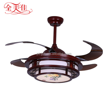 "42""Retro Nordic Ceiling Fan Chinese Wooden Retro Nordic Concealed Fan Light"
