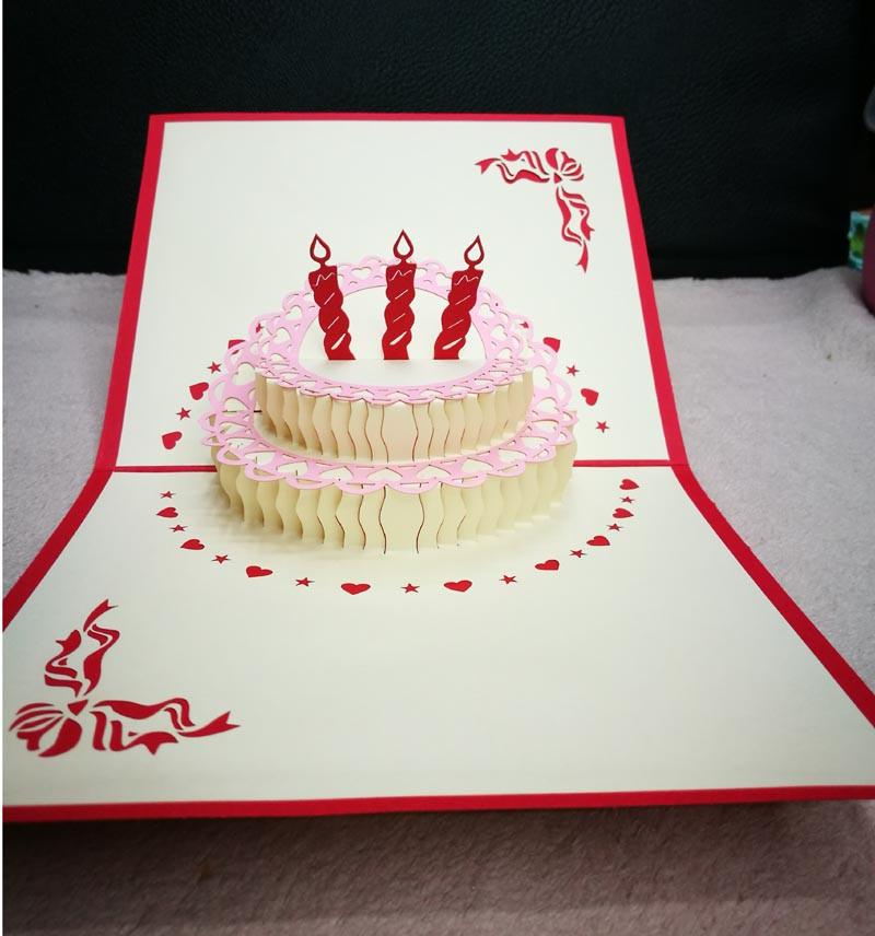 Ywbeyond 3D Handcrafted Origami Torta Di Compleanno Candela Carta Busta Di Invito Taglio Laser