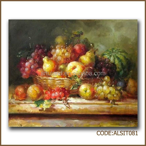Fruit basket oil painting of pear