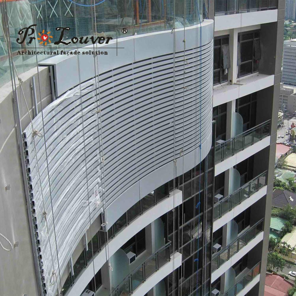 Fixed Aluminum Facades Panel Architectural External Louver