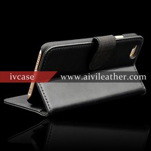 Premium Black Leather Wallet Case for Iphone 6