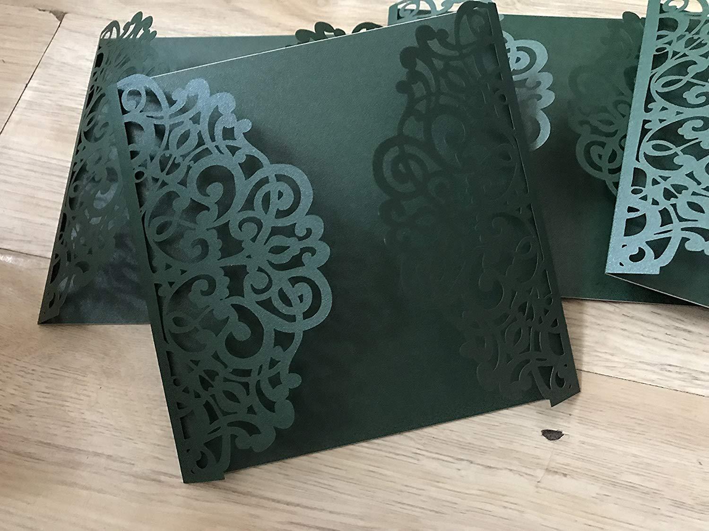 Square Blackish Green Laser Cut Wedding Invitations Diy Invite Invitation Cards