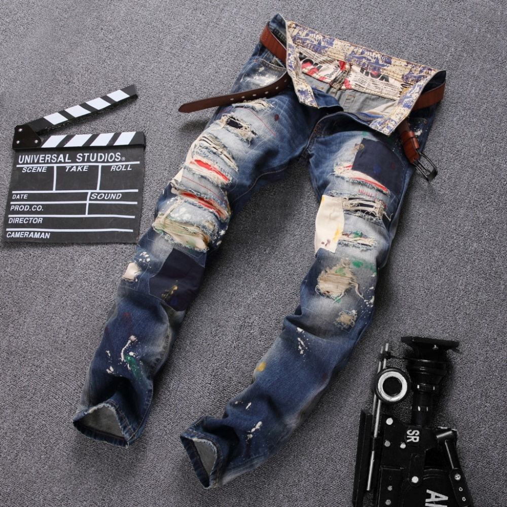 Z93176A Distressed Denim Pant - New Design 2017 High quality Mens Light Blue Denim Jeans Distressed